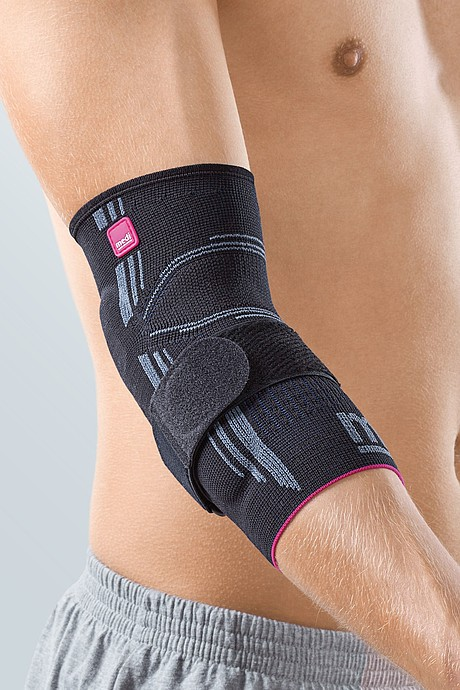 Epicomed® elbow supports with silicone support pads and tension strap, black